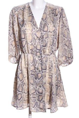 Zara Basic Blusenkleid creme-schwarz Animalmuster Casual-Look