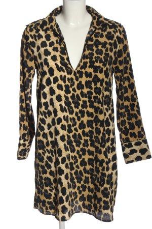 Zara Basic Blusenkleid blassgelb-schwarz Allover-Druck Casual-Look