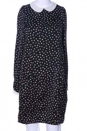 Zara Basic Blusenkleid schwarz-wollweiß Allover-Druck Elegant