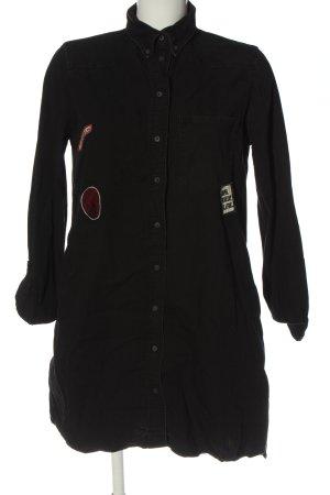Zara Basic Blusenkleid schwarz-weiß Motivdruck Casual-Look