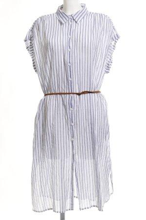 Zara Basic Blusenkleid weiß-stahlblau Streifenmuster Casual-Look