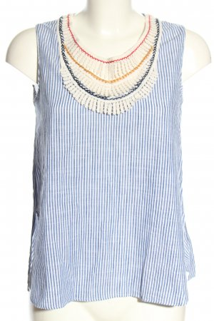 Zara Basic Blusentop blau-weiß Allover-Druck Casual-Look