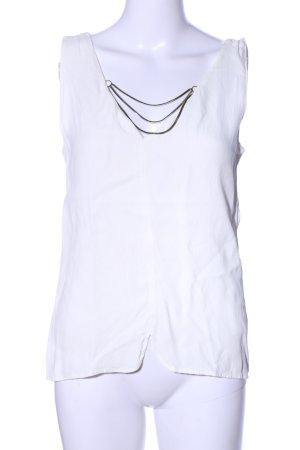 Zara Basic Blusentop weiß-goldfarben Elegant
