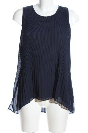 Zara Basic Blouse topje blauw gestreept patroon zakelijke stijl