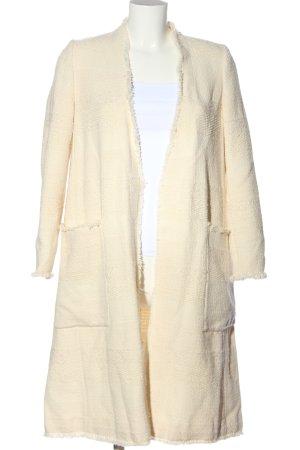 Zara Basic Cappotto lungo fino a terra bianco sporco punto treccia stile casual