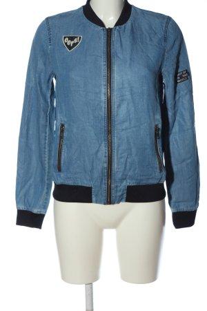 Zara Basic Bomberjacke blau-schwarz Casual-Look