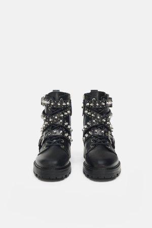 Zara Basic boots mit Glitzersteinen 40 LEDER