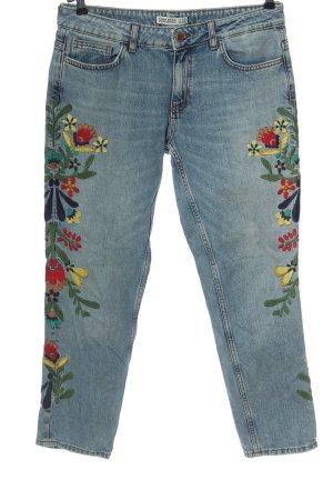 Zara Basic Jeans boyfriend bleu motif de fleur style décontracté