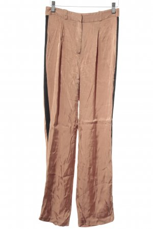 Zara Basic Bundfaltenhose apricot-schwarz Casual-Look