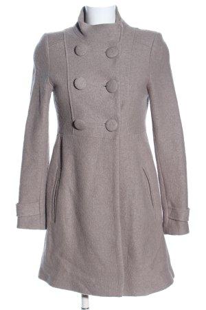 Zara Basic Heavy Pea Coat natural white flecked casual look