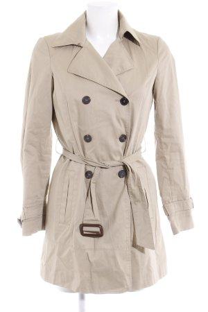 Zara Basic Heavy Pea Coat cream casual look