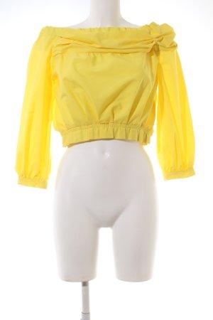 Zara Basic Blusa tipo Carmen amarillo pálido look casual