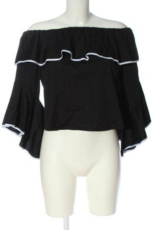 Zara Basic Carmen-Bluse schwarz-weiß Casual-Look