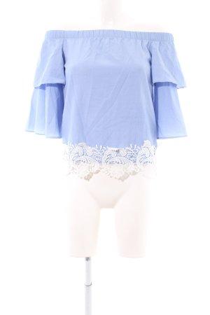 Zara Basic Carmen-Bluse blau-weiß Casual-Look