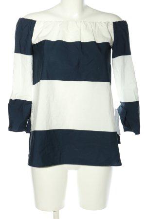 Zara Basic Blusa alla Carmen bianco-blu motivo a righe stile casual