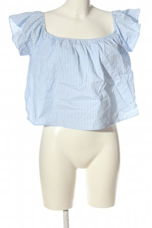 Zara Basic Carmen-Bluse blau-weiß Streifenmuster Casual-Look