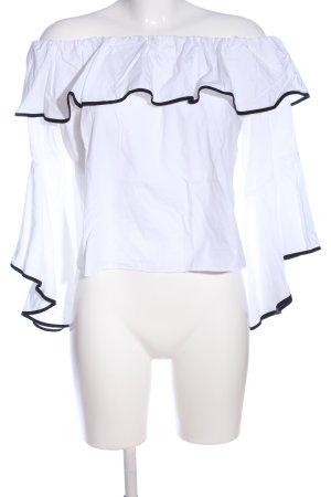 Zara Basic Blusa alla Carmen bianco-nero stile casual