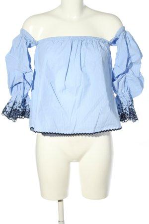 Zara Basic Carmen-Bluse blau-schwarz Casual-Look
