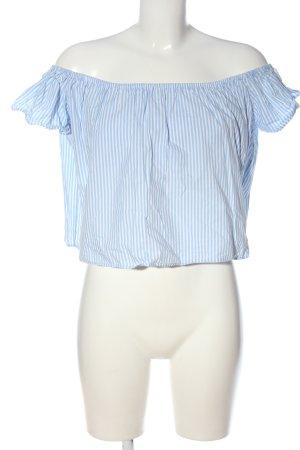 Zara Basic Carmen-Bluse weiß-blau Streifenmuster Casual-Look