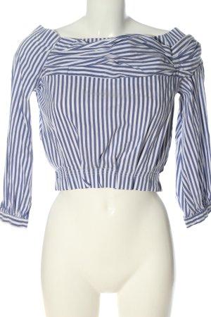 Zara Basic Blusa tipo Carmen azul-blanco look casual