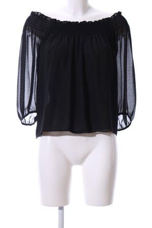 Zara Basic Blouse Carmen noir style décontracté