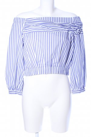 Zara Basic Carmen-Bluse blau-weiß Allover-Druck Casual-Look
