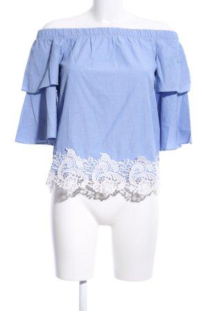 Zara Basic Blusa alla Carmen blu-bianco motivo floreale stile casual