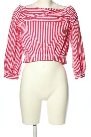Zara Basic Carmen-Bluse pink-weiß Allover-Druck Casual-Look