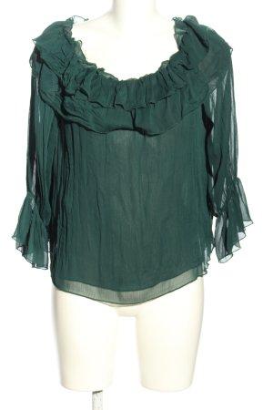 Zara Basic Carmen-Bluse grün Casual-Look