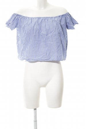 Zara Basic Carmen-Bluse kornblumenblau-weiß Streifenmuster