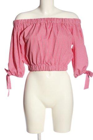 Zara Basic Carmen-Bluse rot-weiß Karomuster Casual-Look