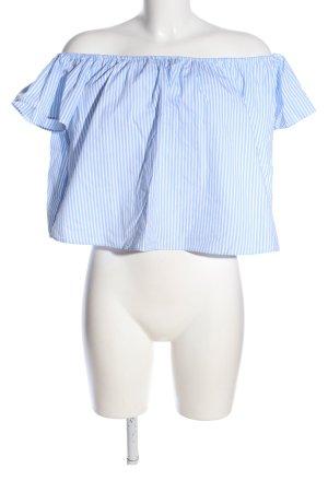Zara Basic Carmenshirt blau-weiß Streifenmuster Casual-Look