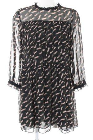 Zara Basic Chiffonkleid schwarz-pink Allover-Druck Casual-Look