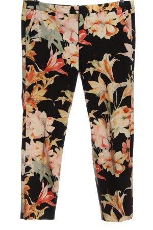 Zara Basic Pantalon chinos noir-orange clair motif de fleur style décontracté