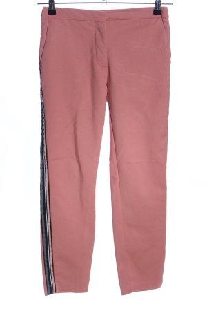 Zara Basic Chinohose pink-schwarz Streifenmuster Casual-Look