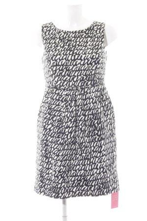 Zara Basic Cocktailkleid wollweiß-schwarz abstraktes Muster Elegant