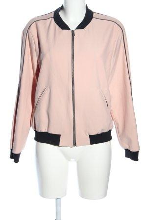 Zara Basic Chaqueta estilo universitario negro-rosa look casual