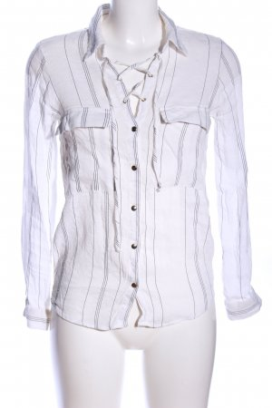Zara Basic Crash Blouse white-light grey striped pattern casual look