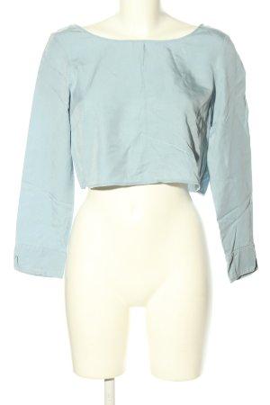 Zara Basic Cropped Shirt blau Casual-Look
