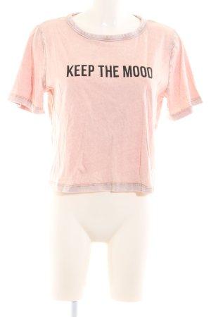 Zara Basic Cropped Shirt pink-schwarz Schriftzug gedruckt Casual-Look