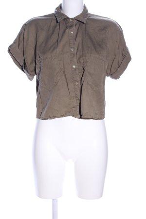 Zara Basic Cropped Shirt braun Casual-Look