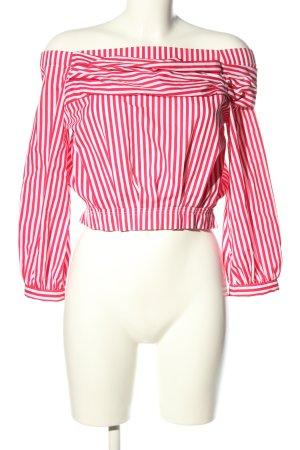 Zara Basic Carmen-Bluse rot-weiß Allover-Druck Casual-Look