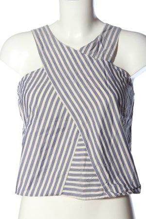 Zara Basic Cropped Top blau-weiß Allover-Druck Casual-Look