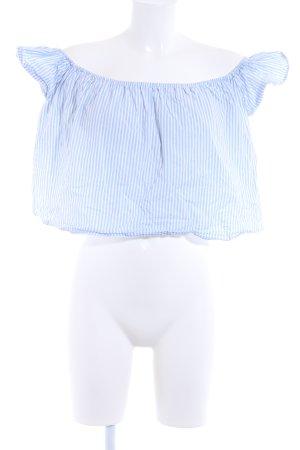 Zara Basic Cropped Top weiß-hellblau Streifenmuster Casual-Look