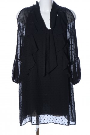 Zara Basic Vestido cut out negro estampado a lunares look casual