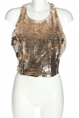 Zara Basic Cut-Out-Top goldfarben extravaganter Stil