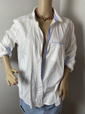 Zara Basic Blouse kraagje wit-neon blauw Gemengd weefsel