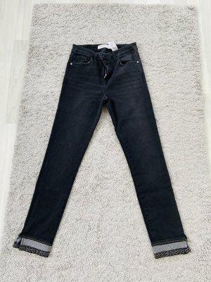 Zara Jeansy z prostymi nogawkami czarny-srebrny