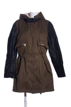 Zara Basic Veste double brun-noir motif de courtepointe style décontracté