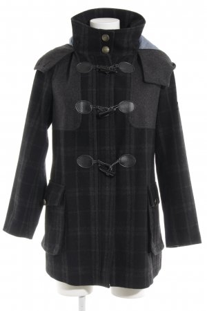 Zara Basic Duffel Coat dark grey check pattern casual look